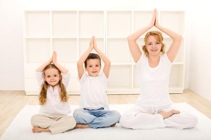 lotus pose - mom and kids